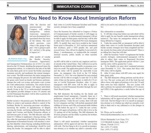 Immigration Reform News: Elizee Hernandez Law Firm